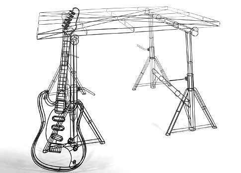 rautalankamalli veistos kitara