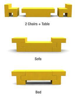 tetris sohva, pöytä ja sänky