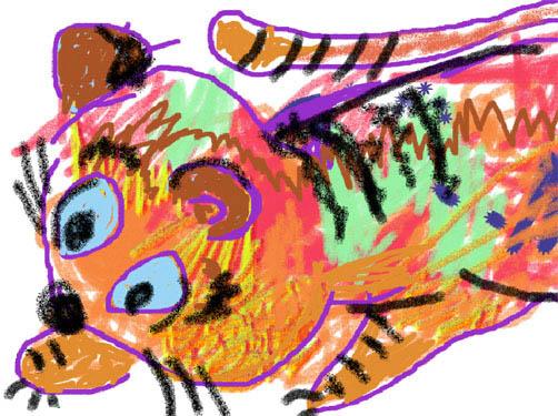 Tiikeri piirretty väriliiduilla
