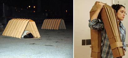 Shellhouse - kokoon taitettava pahvilaatikko teltta