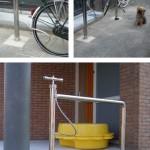 Pyörätelineeseen yhdistetty pyörän pumppu