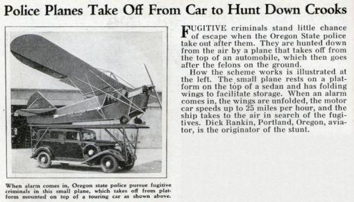 Lainpuolustuksen mennyt tulevaisuus: Auton katolta lentoon lähtevä poliisilentokone