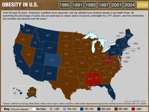 Liikalihavuus USAn kartalla