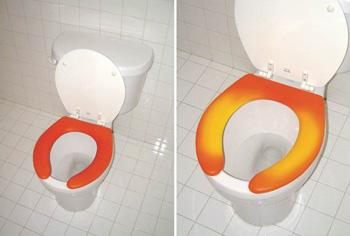 Lämmön mukaan väriä muuttava wc-istuin varoittaa