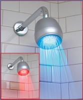 Suihku, joka ilmaisee valon värillä lämpötilan