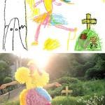 Lasten piirustuksista valokuvapastisseja