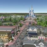 Disney World kolmiulotteisena mallina Google Earthissa