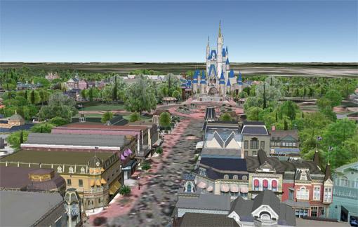 Disneyworld kolmiulotteisena mallina Google Earthissa
