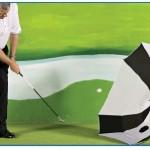 Umbrella Plus kelpaa sateen pitämisen ohella golf-chippien harjoitteluun