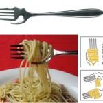 Calamete-haarukka pastan syömiseen yhdellä kädellä