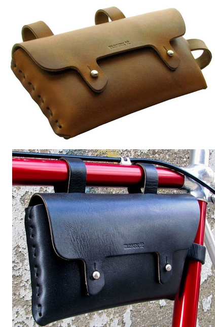 Yksivaihde Laukku : O nahkainen laukku satulan alle ja vaakaputkeen