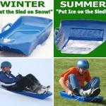 Slicer on pulkka joka toimii yhtä hyvin nurmikolla kuin lumella
