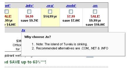 GoDaddy-domain-palvelu varoittaa .tv-päätteen ottamisesta sillä Tuvalu on uppoamassa mereen