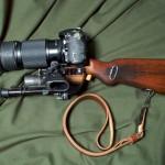 Tactical Camera Long Range Assault Stock eli TALCS on Nikon D200 kiväärin rungossa