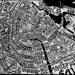 Mark Andrew Webber kaivertaa kaupunkien karttoja linoleumille