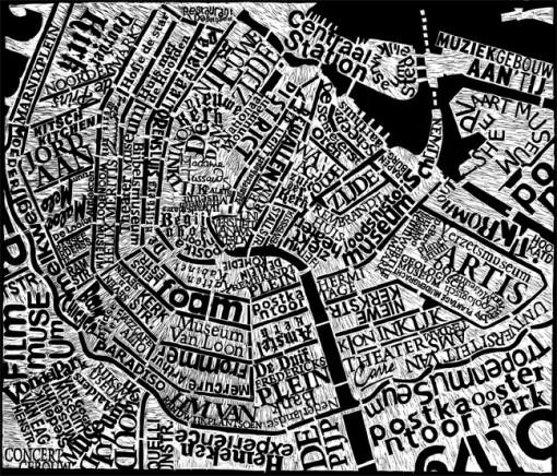 Mark Andrew Webber kaivertaa kaupunkien karttoja linoleumille 3