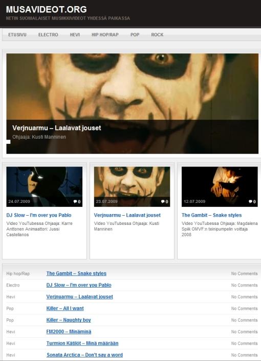 Musavideot.org pyörittää suomalaisia musiikkivideoita