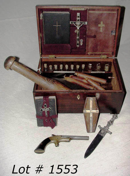 1553-Vampire-killing-kit-Rosewood-case-with-mother-of-pearl-cross-inlay-pistol-silver-bullets-in-coffin-case-Holy-water-vials-cleaver-prayer-book-looking-glass-close-up