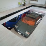 Onnea on talo, jossa Lamborghinin nousee olohuoneeseen hissillä