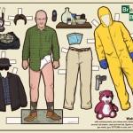 Breaking Bad sarjan Walter White ja muita populaarikulttuurista tuttuja hahmoja paperinukkeina