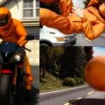 moottoripyöpäilijän airbag-puku on ilmapallo