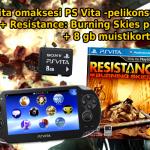 KILPAILU! Voita PS Vita Wi-fi pelikonsoli, Resistance: Burning Skies peli ja 8 Gb muistikortti!