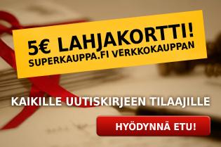 Tilaa Superkauppa.fi verkkokaupan uutiskirje ja saa 5€