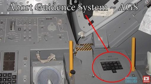 Abort Guidance System AGS tietokone oli poikkeustilanteen varalta. Sitä ei koskaan käytetty.