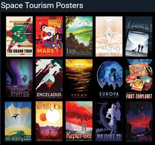 NASAn avaruusturismi-julisteet