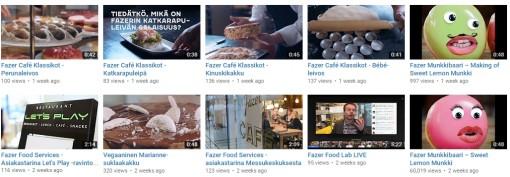 Fazerin videokanava, kuvakaappaus Youtubesta