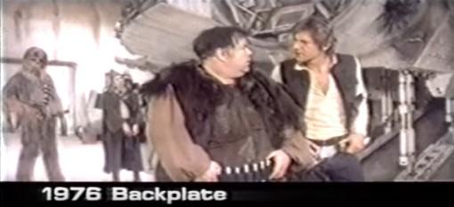Jabba the Hutt alkuperäiseltä filmiltä, kyseessä on viitteellinen näyttelijä kohtauksen apuna