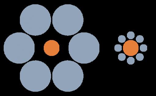 Ebbinghausin harha. Oranssit pallot ovat oikeasti samankokoisia.