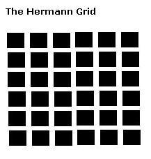 Hermannin ristikkoharha. Kulmissa näkyy olemattomia harmaita pilkkuja.