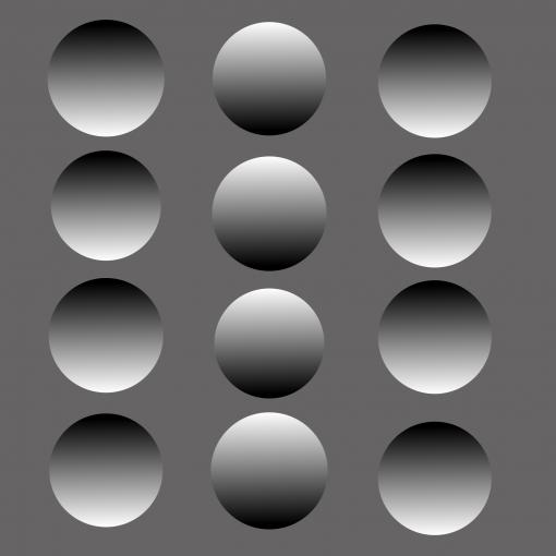 Jos kuvaa katsoo ylösalaisin, keskimmäisen pystyrivin alueet näyttävätkin kuperilta. Aivot olettavat että valo tulee ylhäältä.