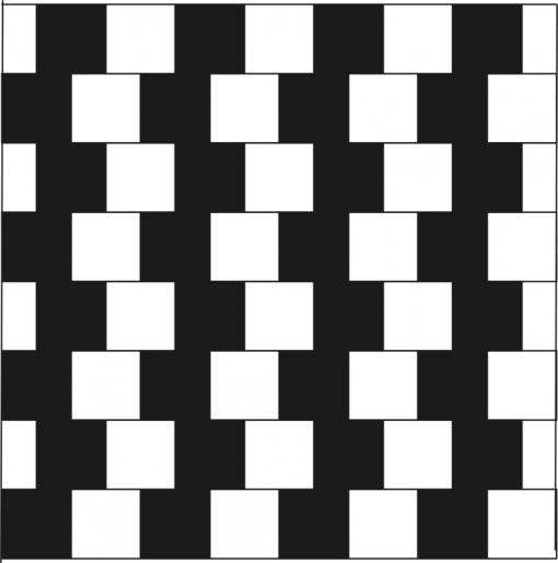 Kahvilanseinäharha. Kuvassa näyttäisi olevan kiilamuotoja, mutta oikeasti vaakalinjat ovat samansuuntaisia.