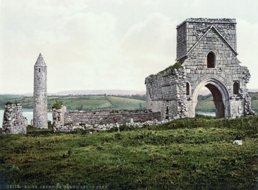 Ruins, Devenish Island, Lough Erne, County Fermanagh.