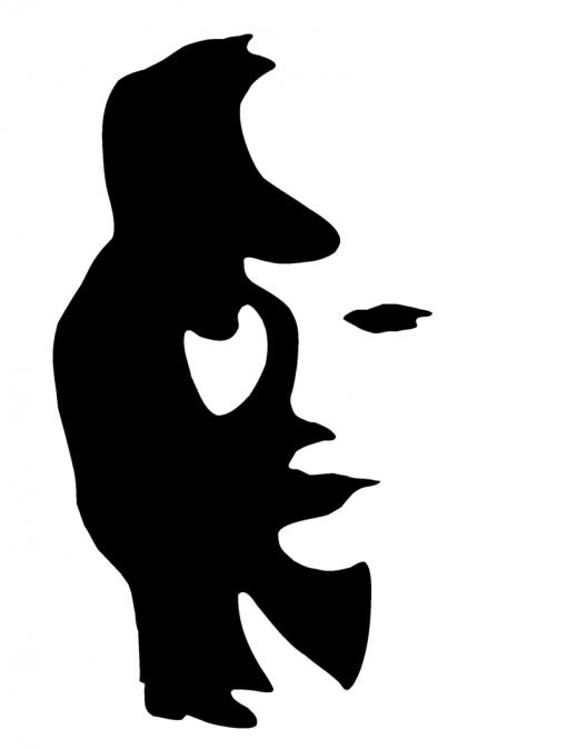 Saksofonisti tai naisen kasvot.