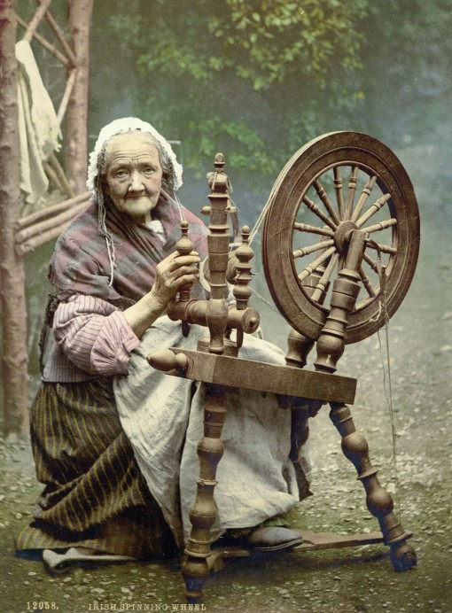Spinner and spinning wheel, County Galway.