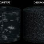 Videoesitys havaittavan maailmankaikkeuden laajuudesta. Järjettömän suuri paikka.