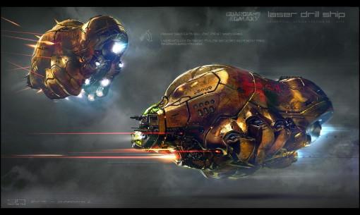"""""""Laser drill ship"""", jolla Yondu ja Peter lentävät elokuvan loppupuolella"""