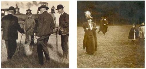 Varpumiehiä 1900-luvun alussa Pohjois-Dakotassa sekä varpukilpailu Pariisissa 1930-luvulla