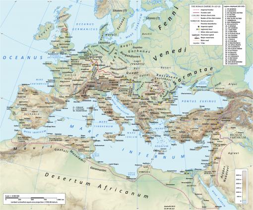 Todellinen Rooman kartta vuodelta 125