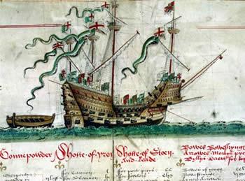 Mary Rose kuvattuna Anthonyn käärössä (Anthonyn käärö on 1546 julkaistu Anthonyn laatima kuvakäärö, joka esittää 58:aa Englannin laivaston alusta)