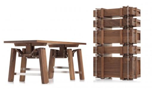 Walking Table -pöytä kokoontaitettuna