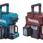 Makita toi markkinoille kahvinkeittimen – Virtalähteenä sähköporan akku, työmaalle sopiva muotoilu.