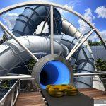 SlideWheel on vesiliukumäki, joka pyörii ja kuljettaa eteenpäin täten