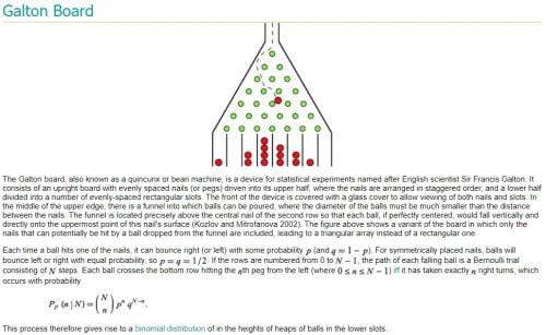 Galtonin laudan statistiikkaa (lähde)