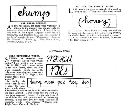 Early ambigrams published in The Strand Magazine, June 1908