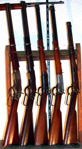 Left to right Carbines two 1873/1894/92/Trapper 92