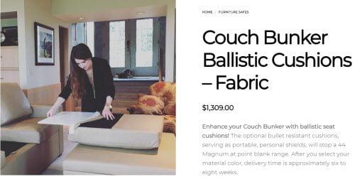 Couch Bunker Ballistic Cushions